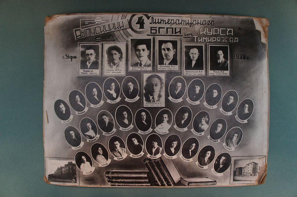 Фотография выпускников 4-го литературного курса Башкирского государственного педагогического института им. Тимирязева 1938 года. В их числе башкирский писатель Гайнан Амири.